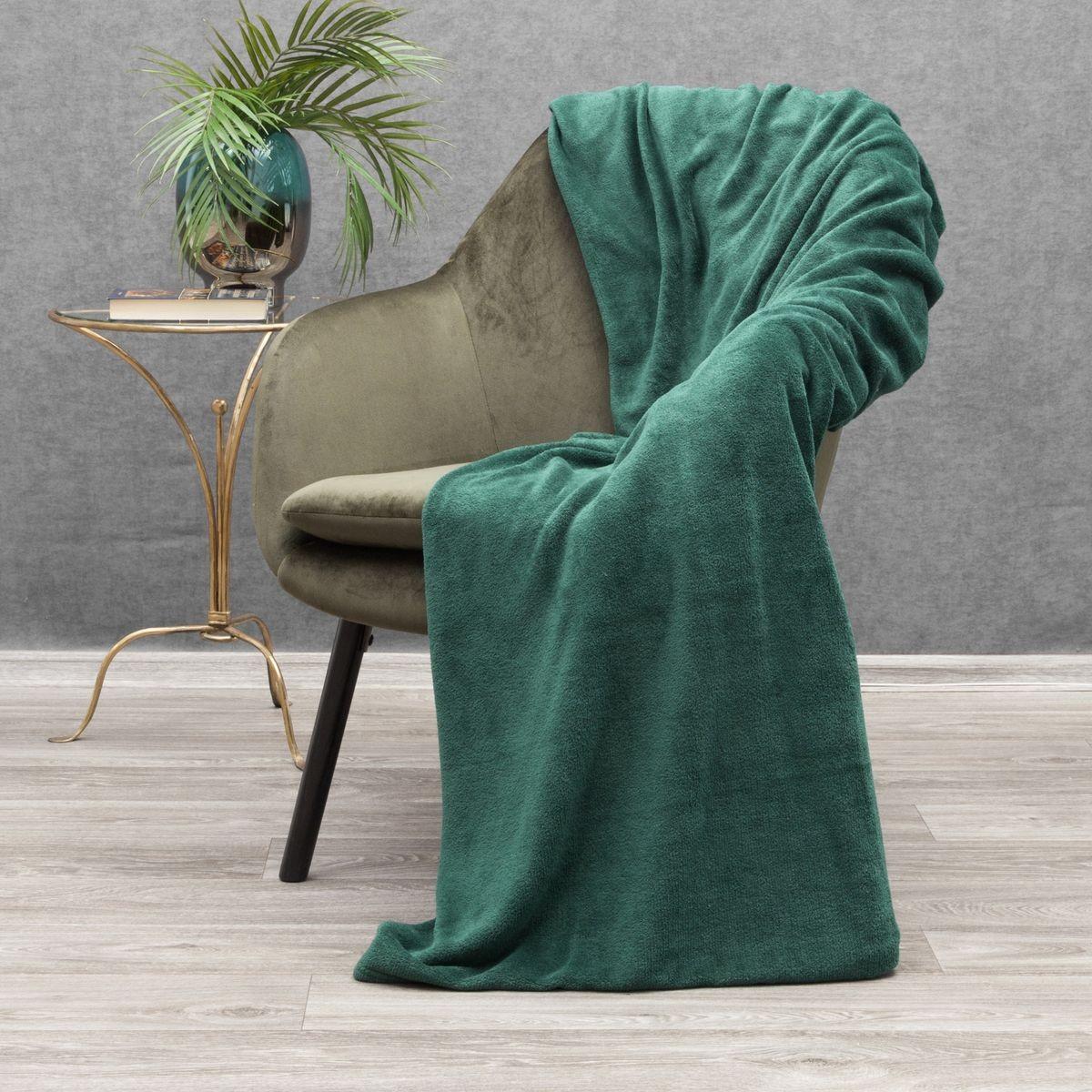 Tmavo zelená jednofarebná hrejivá deka 150 x 200 cm Šírka: 150 cm   Dĺžka: 200 cm