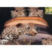 Flanelové posteľné obliečky oranžovo sivej farby s gepardom