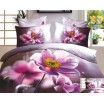 Flanelové postené obliečky sivo bielej farby s ružovými kvetmi