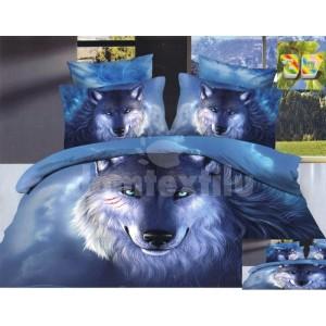 Bavlnené posteľné obliečky modrej farby s motívom vlka