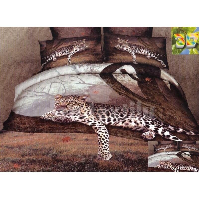 4a9115638cc3b Hnedé flanelové posteľné obliečky s motívom geparda - domtextilu.sk
