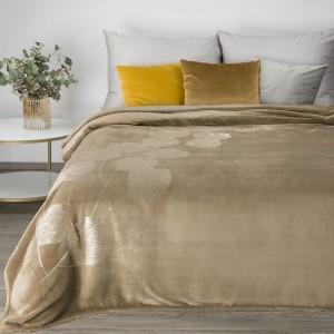 Tmavo bežové hrejivá deka s potlačou lístia ginka 150 x 200 cm
