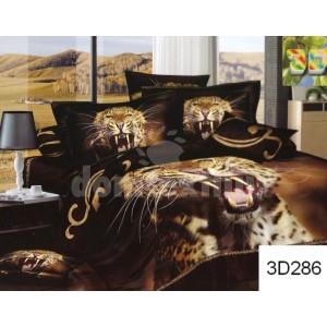 Tmavohnedé posteľné prádlo s motívom geparda