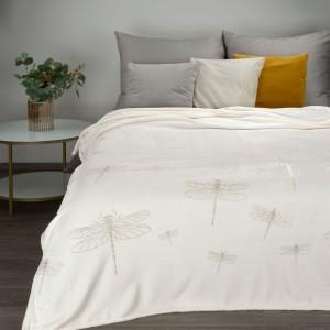 Štýlová biela prikrývka na posteľ so zlatým motívom vážky 150 x 200 cm