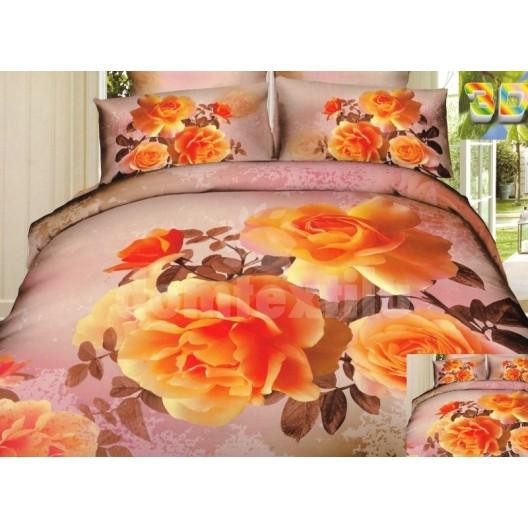 Ružovo hnedá posteľná bielizeň s motívom oranžových ruží