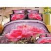 Bavlnené posteľné prádlo fialovej farby s ružovými ružami