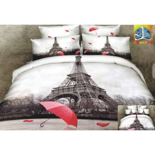Bielo hnedé posteľné obliečky s červeným dáždnikom