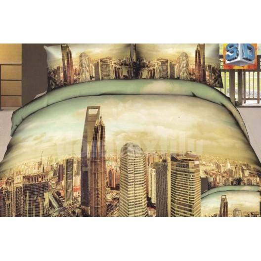 Béžovo zelená posteľná súprava bavlnených obliečok s motívom mesta