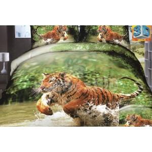 Bavlnené posteľné obliečky zelenej farby s hnedým tigrom