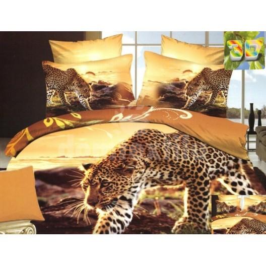 Žlto hnedé posteľné návliečky s gepardom