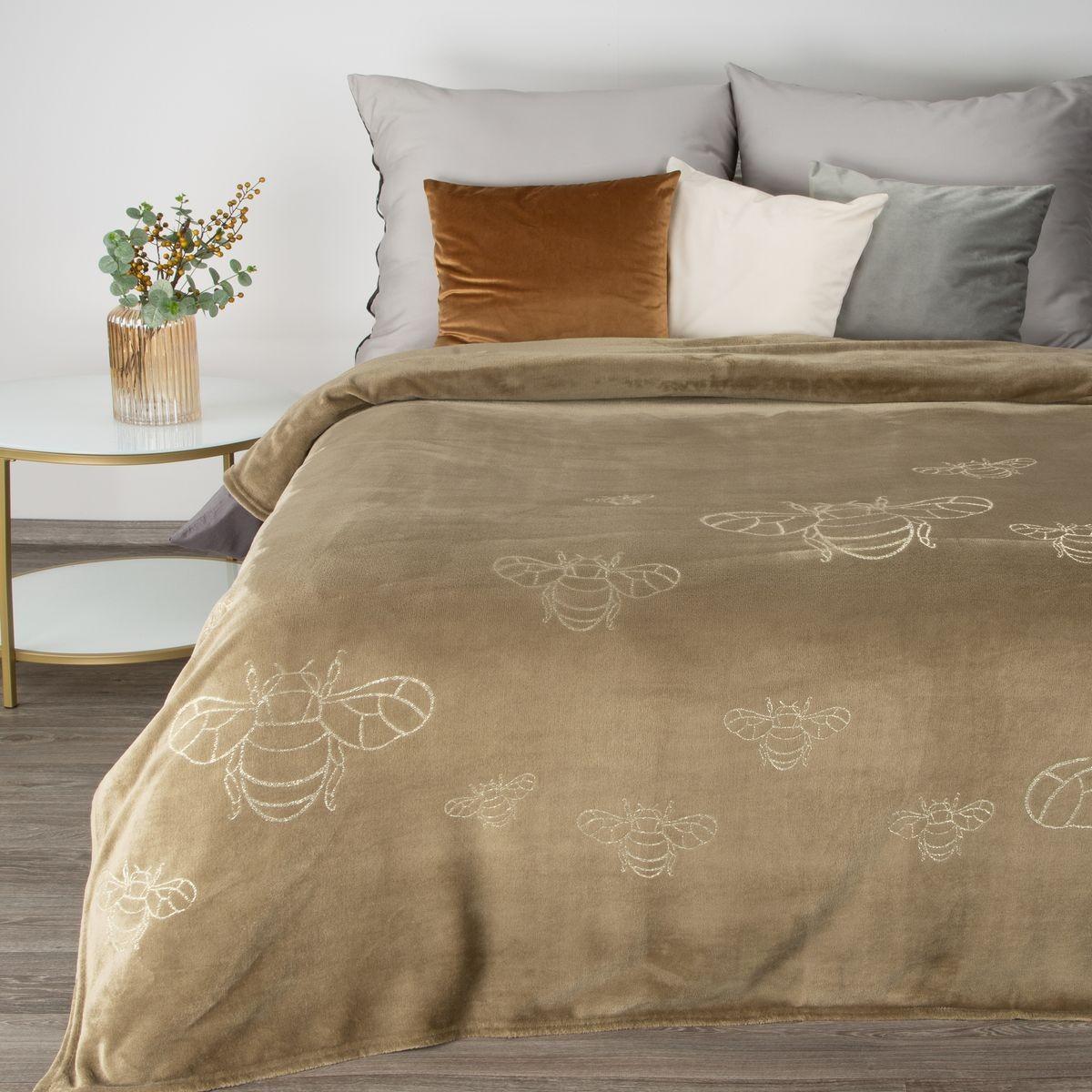 Originálna béžová jemná deka so zlatým motívom včely
