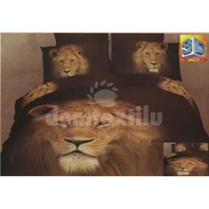 Tmavohnedé posteľné obliečky s levom