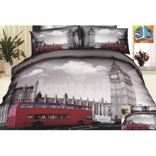 Bavlnené posteľné obliečky sivej farby s motívom mesta Londýn