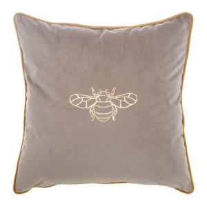 Luxusná béžová dekoračná obliečka na vankúš s motívom včely 45 x 45 cm