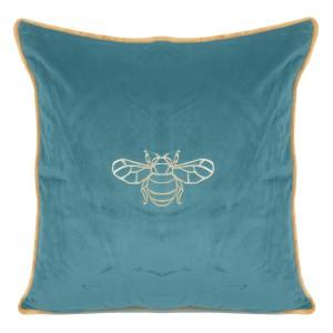 Tyrkysová obliečka na vankúš so zlatým vzorom včely 45 x 45 cm