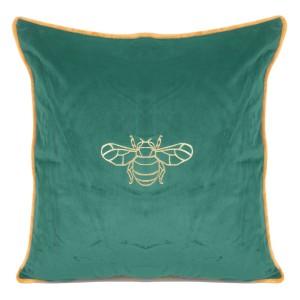 Zelená zamatová obliečka na vankúš so zlatým motívom včely 45 x 45 cm