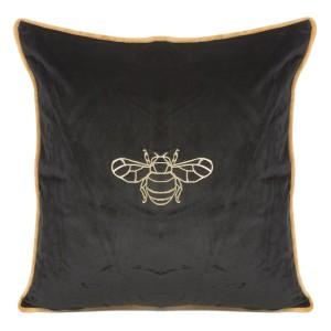 Čierna dekoratívna zamatová obliečka na vankúš so zlatým vzorom včely 45 x 45 cm