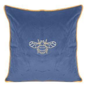 Efektívna modrá zamatová obliečka na vankúš so vzorom včely 45 x 45 cm