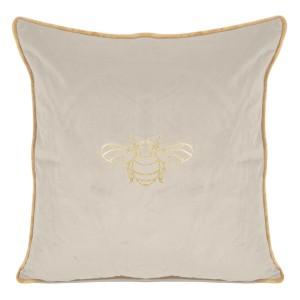 Krásna krémová dekoratívna obliečka na vankúš so zlatým vzorom 45 x 45 cm