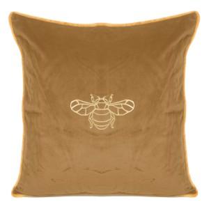 Karamelovo hnedá dekoratívna obliečka na vankúš so zlatou včelou 45 x 45 cm
