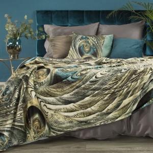 Luxusná béžovo tyrkysová hebká deka s trojrozmernou potlačou navrhnuté EVOU MINGE