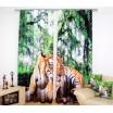 Záves na okná zeleno béžovej farby s tigrom