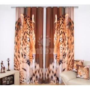 Hnedý záves na okno s motívom geparda