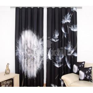 Čierne závesy na okná s bielou odkvitnutou púpavou