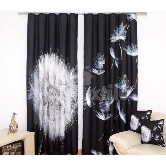 Čierne luxusné závesy s bielou odkvitnutou púpavou