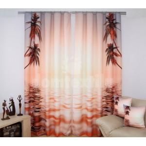 Závesy do okien hnedo lososovej farby s palmami pri mori