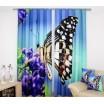 Modrý záves na okná s fialovým kvetom a motýľom