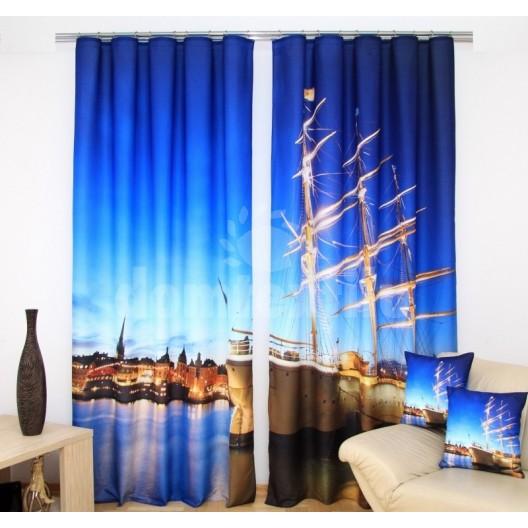 Modré závesy do spálne s motívom luxusnej lode