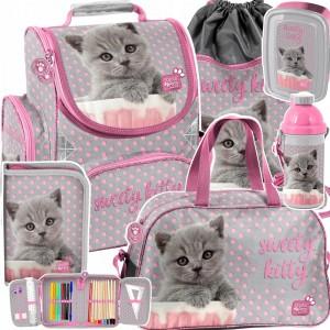Ružová školská šesťdielna taška pre prváčku