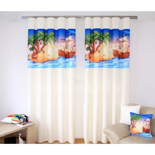 Krémovo modré závesy do detskej izby s rozprávkovou potlačou