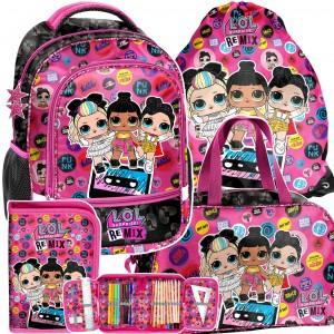 Štvorčasťová školská taška s LOL bábikami