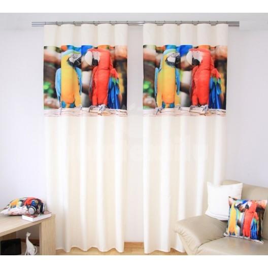 Závesy do detskej izby krémovej farby s potlačou žltého a červeného papagája