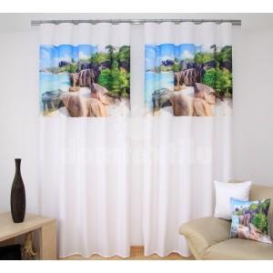 Závesy na okno béžovo krémovej farby s motívom slnečnej pláže