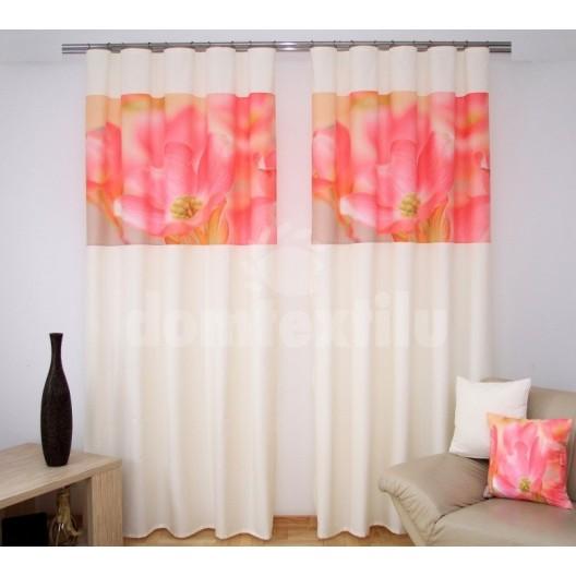 Závesy za výhodné ceny krémovo ružovej farby s kvetom