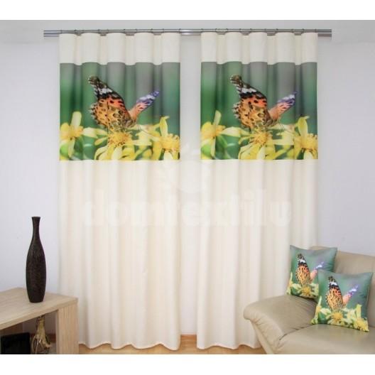 Závesy do kuchyne krémovo zelenej farby so žltými kvetmi a motýľom