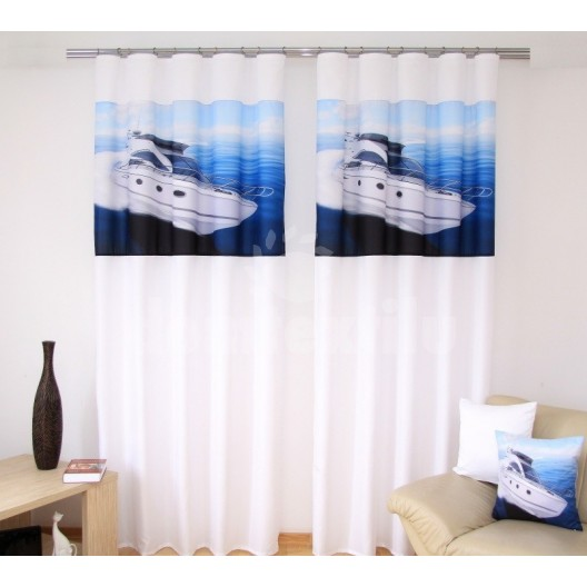 Bielo modré štýlové záclony s motívom lode