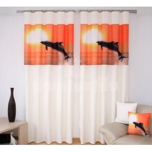 Krémové záclony za výhodné ceny s oranžovou potlačou delfína