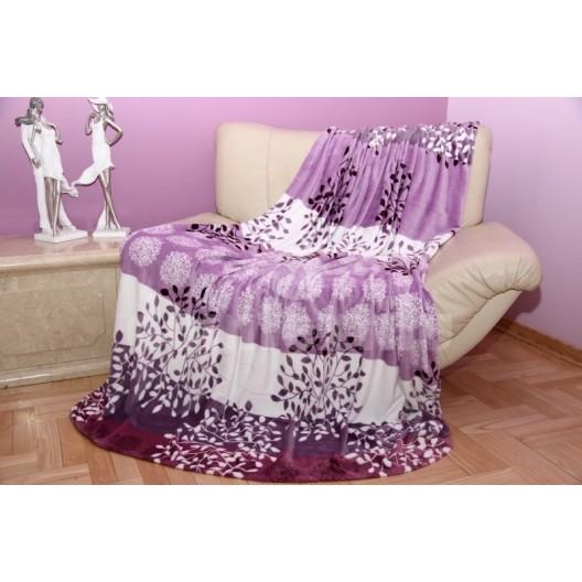 Moderná deka z mikrovlákna fialovo - biela s kvetinovým motívom