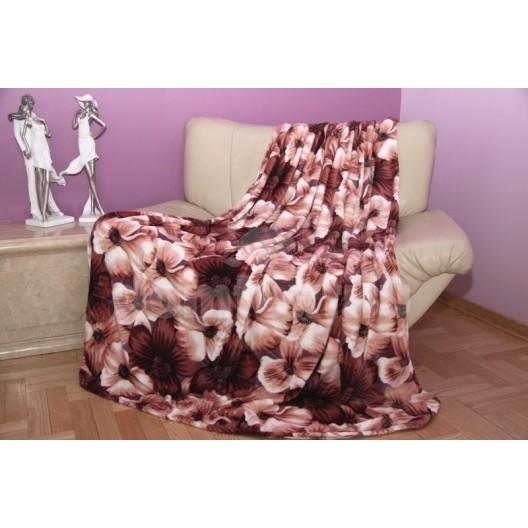 Moderná deka z mikrovlákna krémovo - hnedej farby s kvetinovým motívom