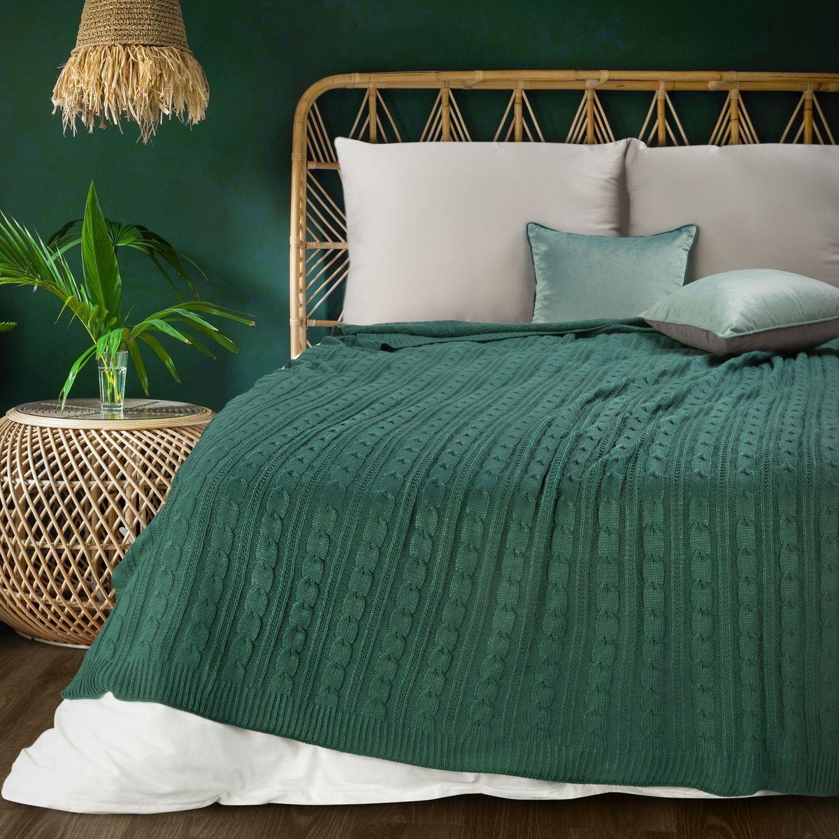 tkaná zelená akrylová deka 130 x 170 cm Šírka: 130 cm   Dĺžka: 170 cm