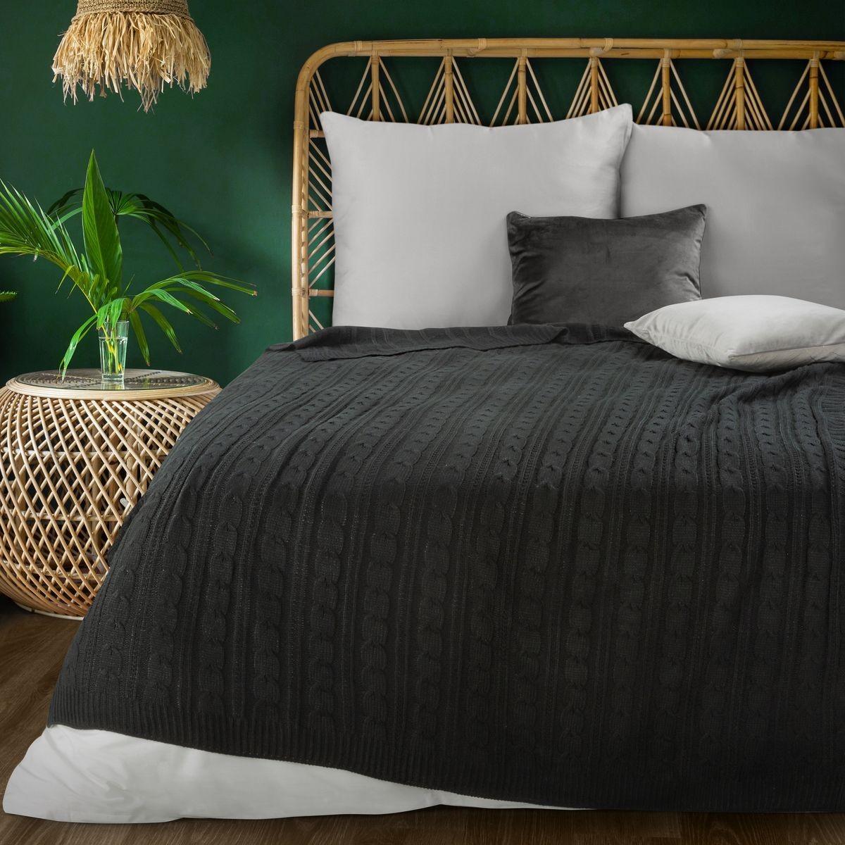 Luxusná čierna akrylová tkana deka s osmičkovým vzorom 130 x 170 cm Šírka: 130 cm   Dĺžka: 170 cm