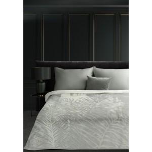 Exkluzívna krémovo sivá akrylová deka s motívom listov 150 x 200 cm
