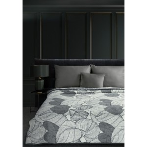 Luxusná obojstranná sivá akrylová deka s motívom listov 150 x 200 cm
