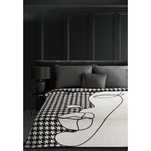 Luxusná čierno biela akrylová deka s módnym kohútím vzorom 150 x 200 cm
