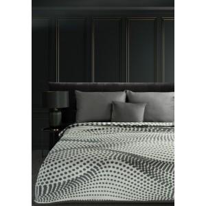 Originálna krémovo sivá akrylová deka s abstraktným geometrickým vzorom 150 x 200 cm