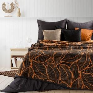 Kvalitná obojstranná čierno oranžová akrylová deka so vzorom jesenných listov 150 x 200 cm